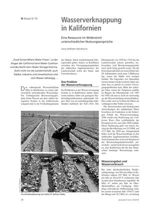 Die Landwirtschaft der USA: Nutzungskonflikte - Wasserknappheit in Kalifornien