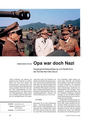 Lerneinheit zur Vergangenheitsbewältigung der deutschen Nachkriegsgenerationen am Beispiel der Familie Karl-Otto Saurs
