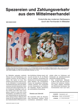 Quellen- und Kartenarbeit zu den Fortschritten des modernen Geldwesens durch den Fernhandel im Mittelalter