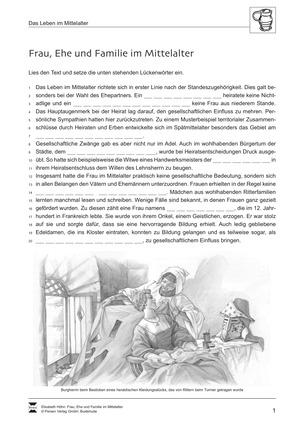 Mann und Frau im Mittelalter:Lückentext zu Frau