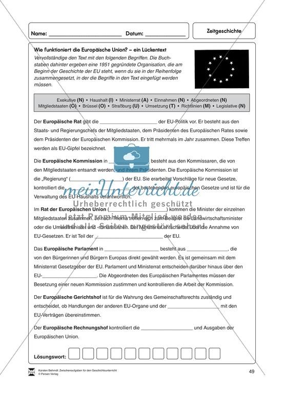 Lückentext zur Funktion der Europäischen Union