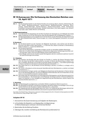 Geschichte des 19. Jahrhunderts: Die Verfassung des Deutschen Reiches von 1871