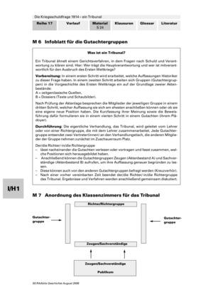Die Kriegsschuldfrage 1914 - ein Tribunal: Material zur Durchführung und Reflexion des Tribunals