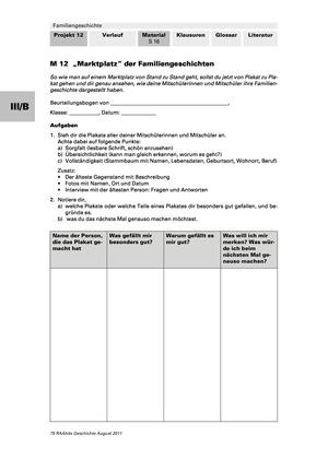 Forschungsprojekt zu eigener Familiengeschichte: Beurteilungsbogen