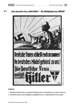 Frauen im Nationalsozialismus: Wahlplakat der NSDAP + Texte: Jungmädelschaft, BDM, RAD + Plakate: Frauenideal der Nationalsozialisten