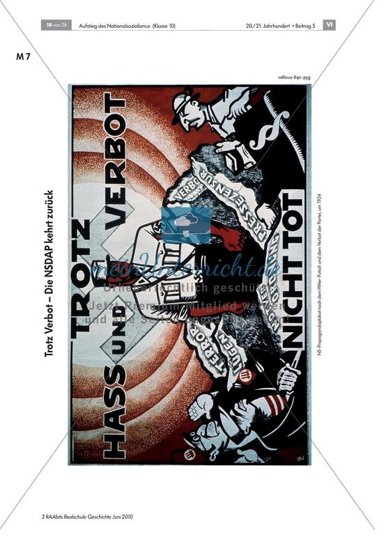 Legalitätstatktik und Entwicklung der NSDAP nach 1925: OH-Folie, Text, Aufgaben