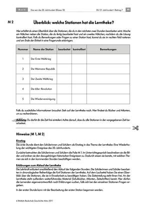 Die Geschichte Deutschlands im 20. Jahrhundert: Lerntheke zum Thema