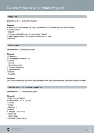 Accessoires: Eine Brosche gestalten + Lehrerinformation
