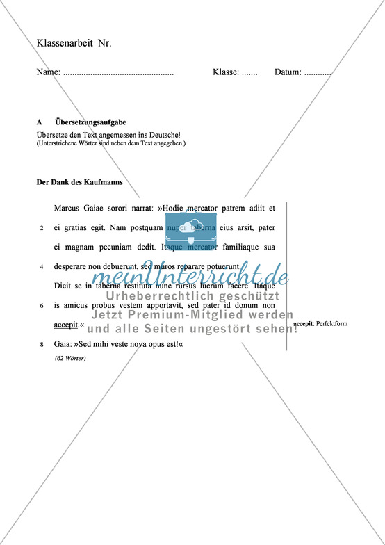 """Klausurvorlage: Übersetzung zum Thema """"Der Dank des Kaufmanns"""" Mit Text + Übungen"""