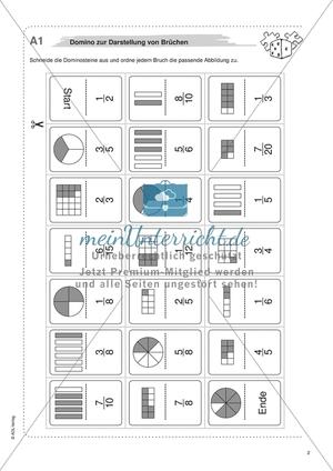 Material für eine Freiarbeit zum Thema Bruchzahlen - Domino zur Darstellung von Brüchen