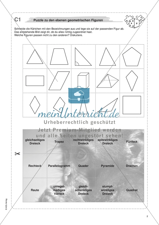 Material für eine Freiarbeit zum Thema Geometrische Figuren - ebene Figuren durch ein Puzzle kennenlernen.