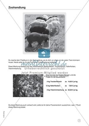 Matheaufgaben aus dem Berufsalltag - Arbeiten in der Zoohandlung