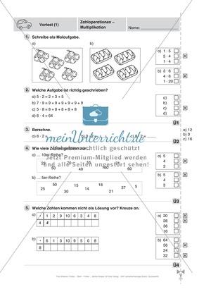 Arbeitsblätter und Übungen für das Fach Mathe in der 2. Klasse