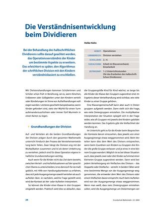 Die Verständnisentwicklung beim Dividieren