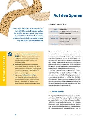 <b>Auf den Spuren von John Neper: Rechenstreifen als Hilfsmittel zur Multiplikation und Division</b><br> Mathematik • Grundschule • 4. Klasse<br> 4 Seiten • Friedrich Verlag