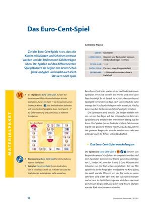 Das Euro-Cent-Spiel - Kinder werden mit Münzen und Scheinen vertraut und üben das Rechnen mit Geldbeträgen