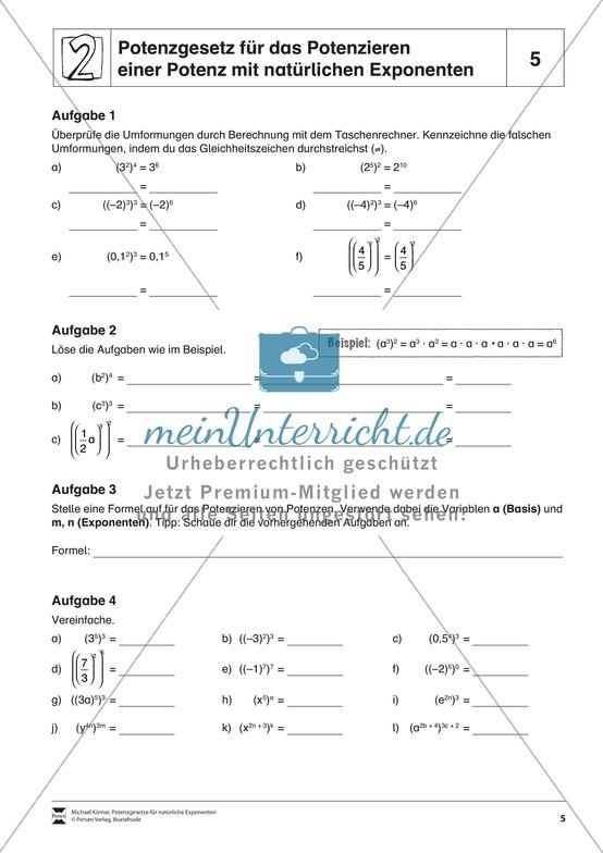 Potenzgesetz für das Potenzieren einer Potenz mit natürlichen Exponenten