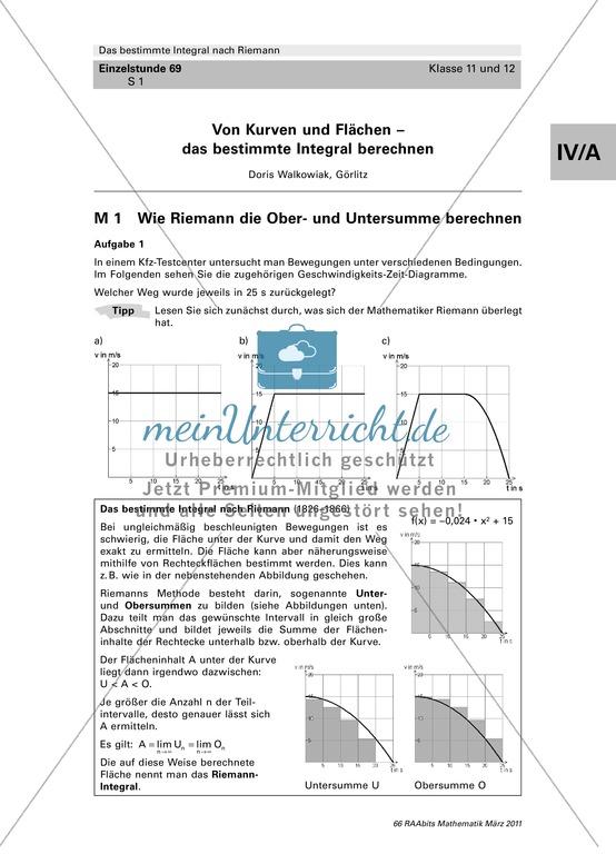 Das bestimmte Integral: Aufgaben zur Berechnung der Ober- und Untersumme nach Riemann