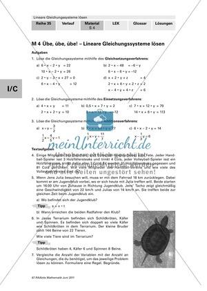 Lineare Gleichungssysteme: Vermischte Aufgaben zum Üben und Wiederholen