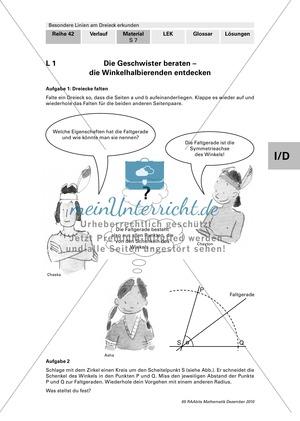Winkel-, Seitenhalbierende, Inkreis und Höhen im Dreieck entdecken und konstruieren