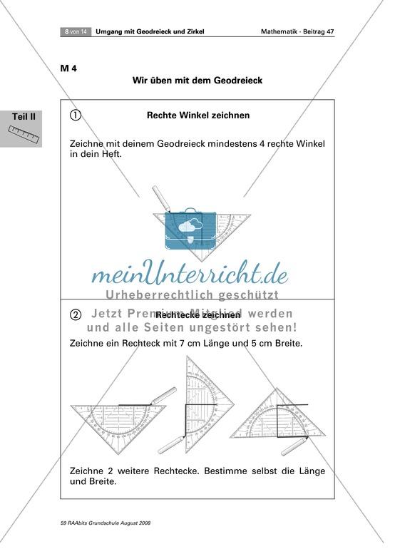 <b>Geometrie: Aufgaben zum Zeichnen und Erkennen von rechten Winkeln</b><br>