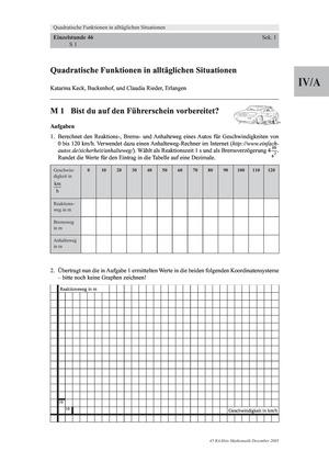 Analysis: Anwendung von quadratischen Funktionen