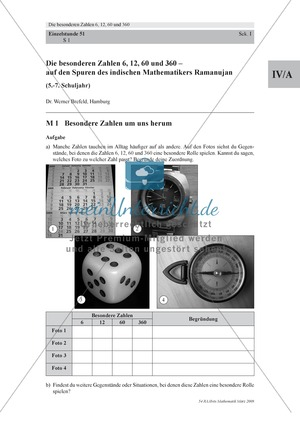 Besondere Zahlen: Tabellarische Zuordnung besonderer Zahlen aus dem Alltag