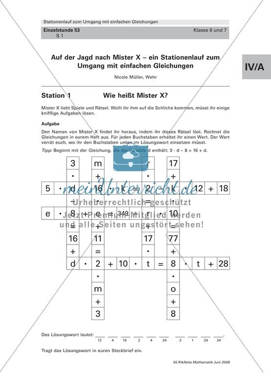Lernspiel an Stationen: Gleichungen lösen und Textinformationen verstehen im Spiel