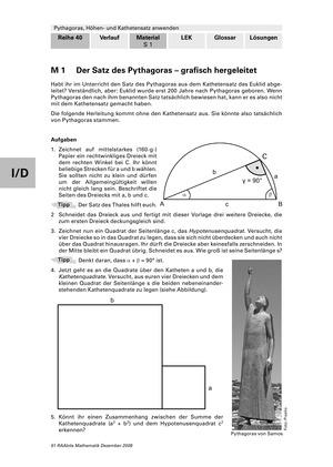 Die grafische Herleitung des Satz des Pythagoras und Anwendungsaufgaben mit Lösungen