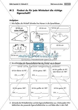 Geometrie: Übungen zu verschiedenen Winkelarten. Mit Lösungen.