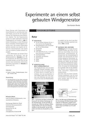 Unterrichtseinheit zum Thema Windenergie: Experimente an einem selbst gebauten Windgenerator.