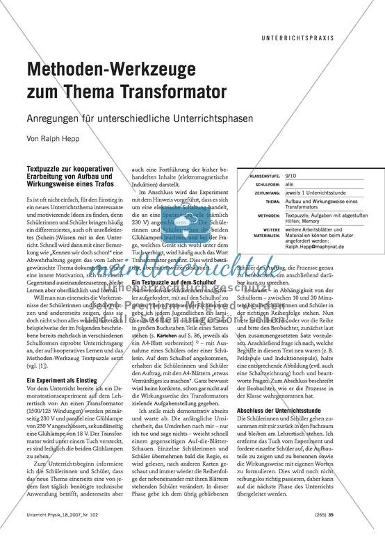Elektrizitätslehre: Beispiele für verschiedene Unterrichtsmethoden und -phasen zum Thema Transformator.