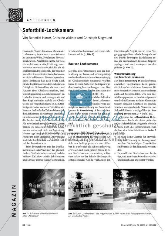 Optik: Bau einer Lochbildkamera und einer Sofortbild-Lochkamera. Mit Infotext und Bauanleitungen