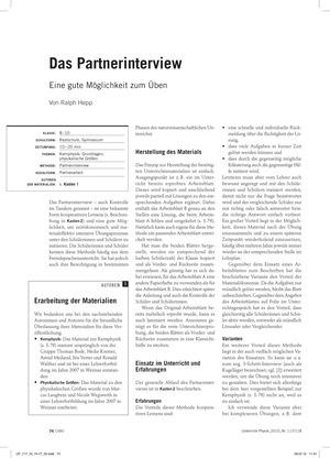 Infotext: Partnerinterview als Methode zum Üben. Mit Beispielen.