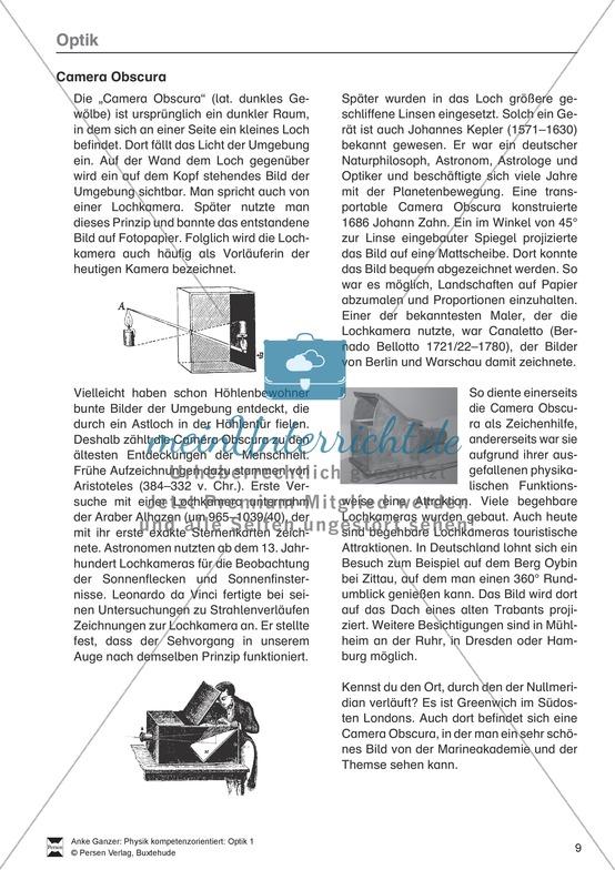 <b>Optik: Die Lochbildkamera - Infotext, Aufgaben und Lösungen</b><br>