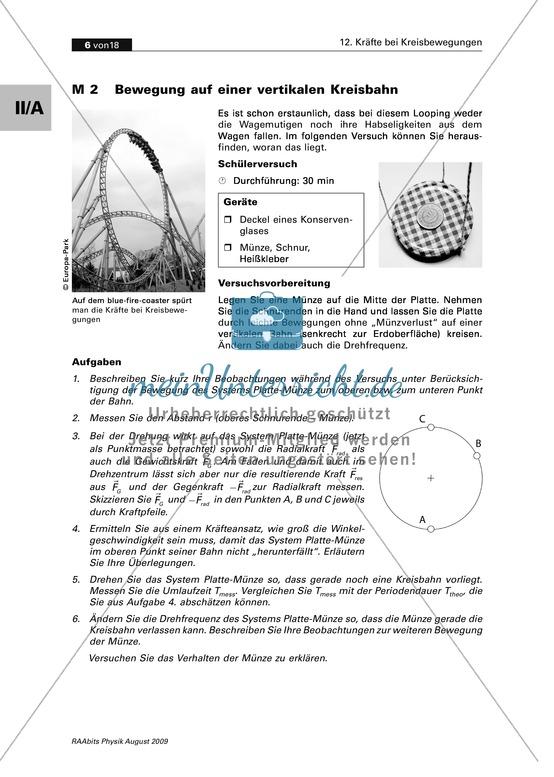 <b>Kräfte bei Kreisbewegungen: Bewegung auf einer vertikalen Kreisbahn</b><br>