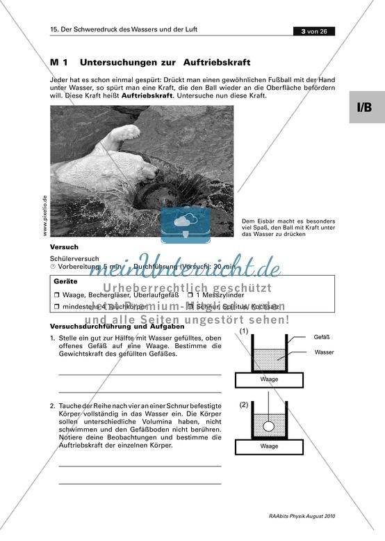 Mechanik: Untersuchung der Auftriebskraft und Archimedisches Prinzip
