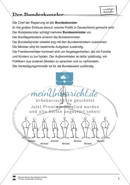 Der Bundeskanzler: Infotext und Arbeitsblätter