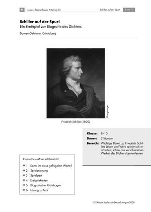 Schiller auf der Spur: Ein Brettspiel zur Biografie des Dichters