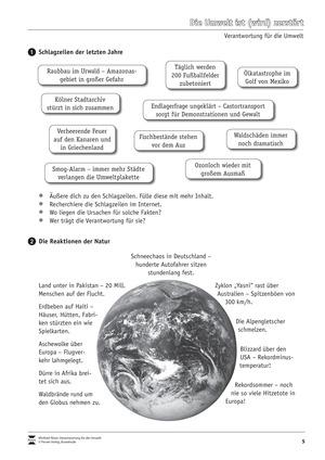 Verantwortung für die Umwelt: Naturkatastrophen - was wir aus ihnen lernen können - Arbeitsblätter