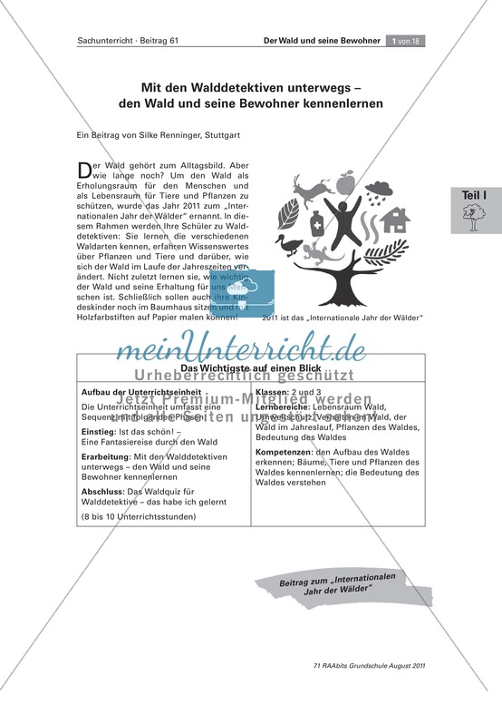 """Unterrichtseinheit zum Thema """"Wunderwerk Wald"""""""