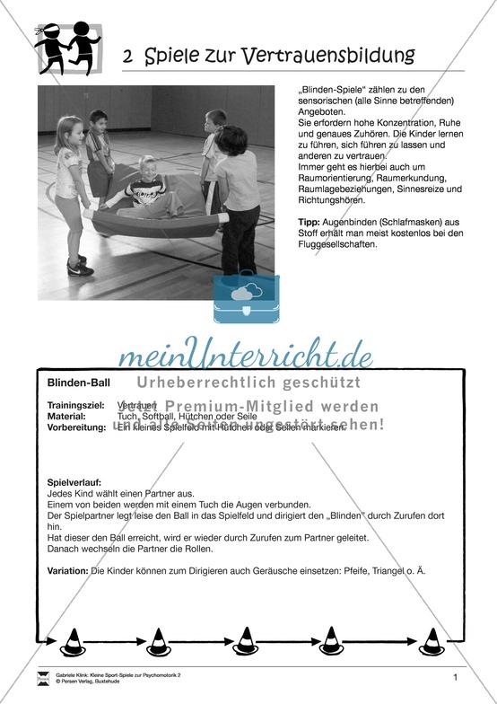 """Verschiedene kleine Sportspiele zur Vertrauensbildung: """"Blinden""""-Spiele"""